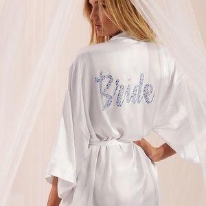 Victoria's Secret Satin Rhinestone Bride Robe